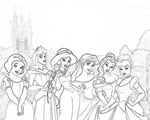 Colorear a las princesas disney gratis