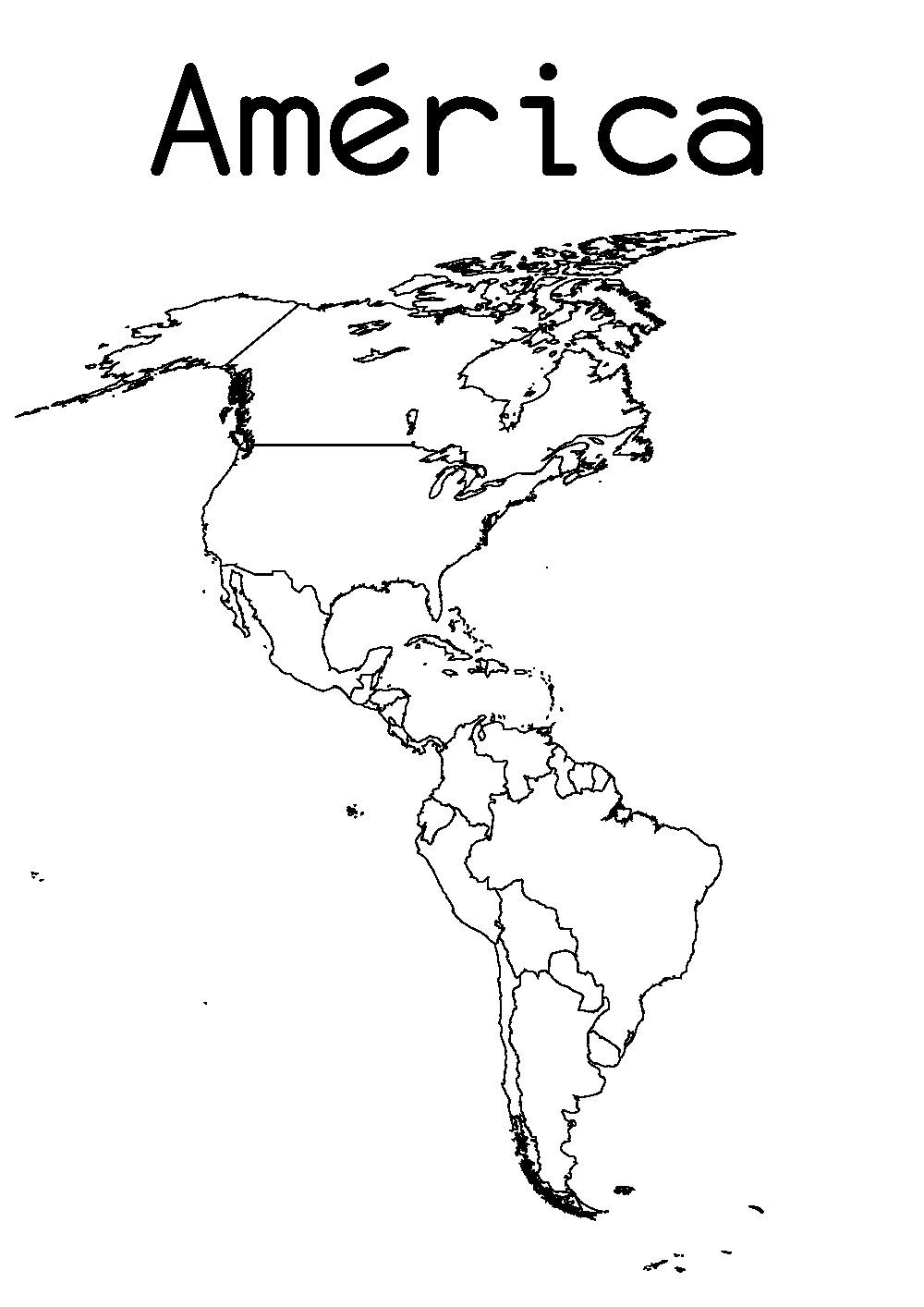 Mapa De América Para Colorear