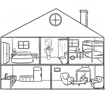 dibujo de casas para colorear