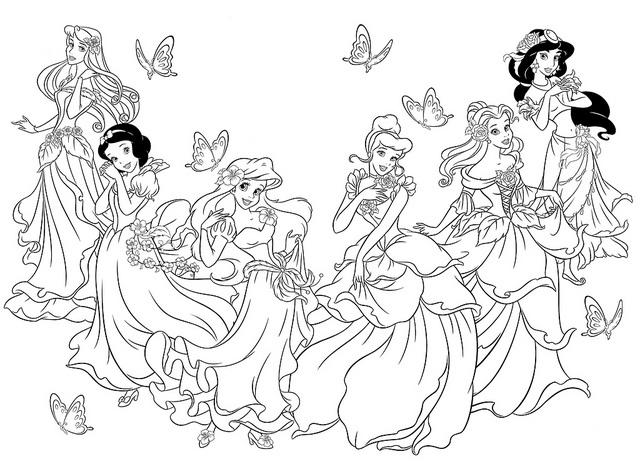 Dibujos De Principes Y Princesas Para Colorear: Princesas Disney Para Colorear