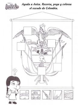 dibujos del escudo de colombia para colorear