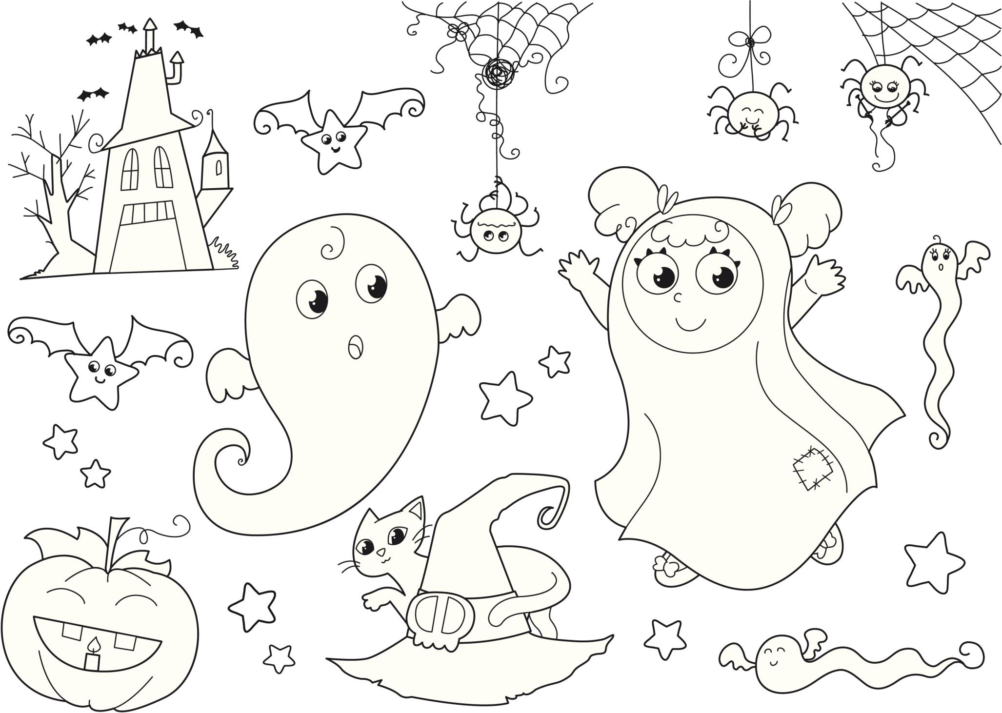 Bonito Divertidas Páginas Para Colorear De Halloween Modelo ...